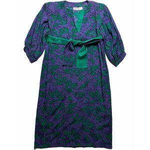 Vintage 80s Purple Silk Dress Knee Length Shoulder
